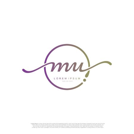 Initial handwriting logo MU Letter Signature template vector. Ilustracja
