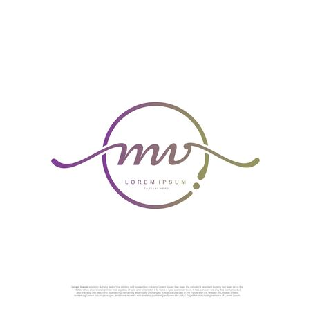 Initial handwriting logo MV Letter Signature template vector. Ilustração