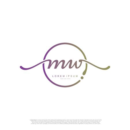 Initial handwriting logo MW Letter Signature template vector.