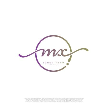 Initial handwriting logo MX Letter Signature template vector.