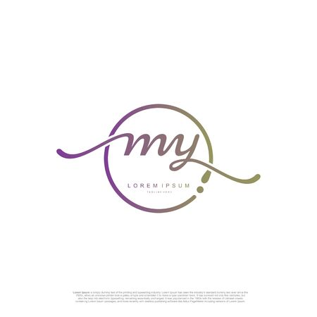 Initial handwriting logo MY Letter Signature template vector. Ilustracja