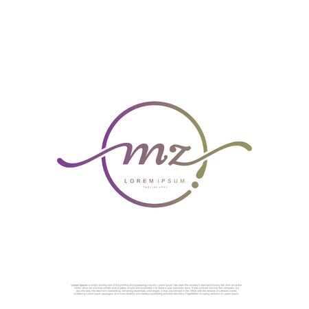 Initial handwriting logo MZ Letter Signature template vector.