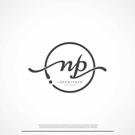 Elegant Signature Initial Letter NP Logo With Circle.