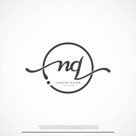 Elegant Signature Initial Letter Nq Logo With Circle.