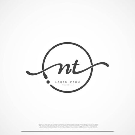 Elegant Signature Initial Letter NT Logo With Circle.