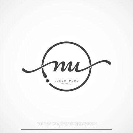 Elegant Signature Initial Letter NU Logo With Circle. Ilustração