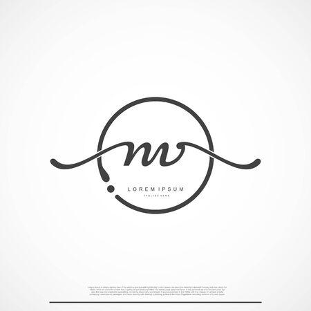 Elegant Signature Initial Letter NV Logo With Circle. Ilustração