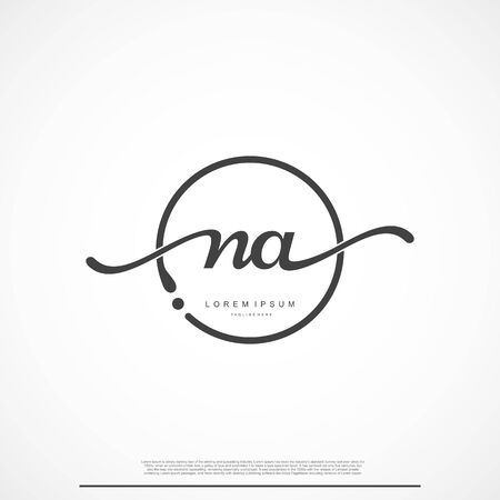 Elegant Signature Initial Letter NA Logo With Circle.