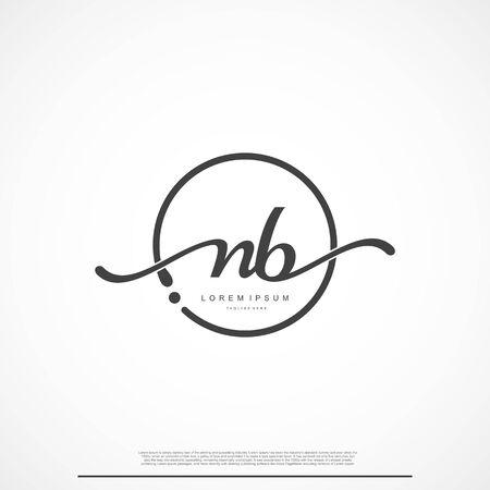 Elegante firma lettera iniziale NB Logo con cerchio. Logo