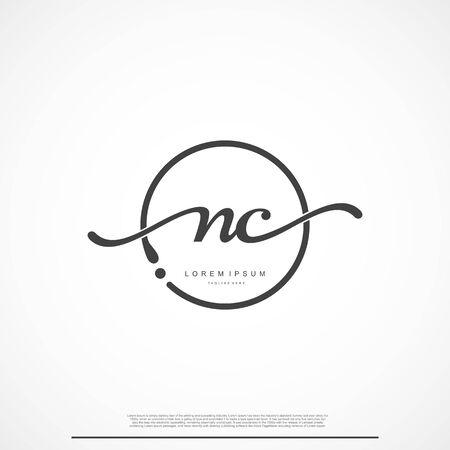 Elegant Signature Initial Letter NC Logo With Circle. Ilustração
