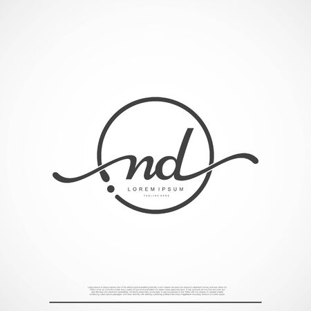 Elegant Signature Initial Letter ND Logo With Circle. Ilustração