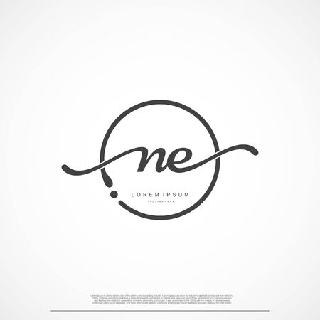Elegant Signature Initial Letter NE Logo With Circle.