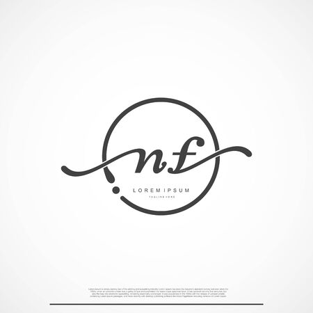 Elegant Signature Initial Letter NF Logo With Circle.