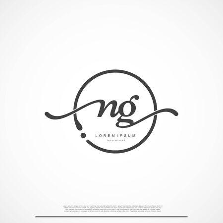 Elegant Signature Initial Letter NG Logo With Circle.