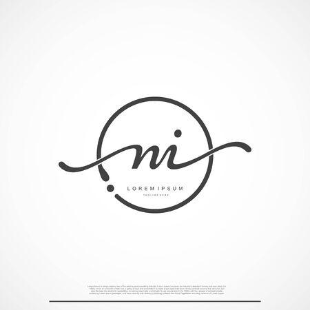 Elegant Signature Initial Letter NI Logo With Circle.
