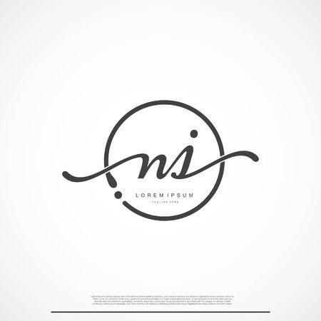Elegancki podpis początkowej litery NJ Logo z kółkiem.