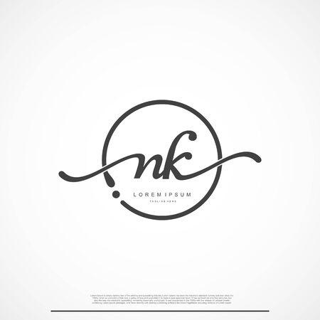 Elegant Signature Initial Letter NK Logo With Circle. Logó