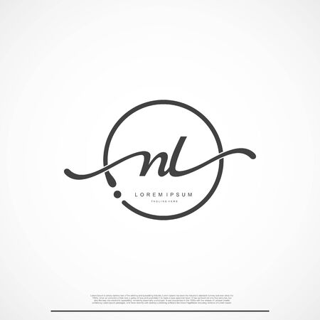 Elegant Signature Initial Letter NL Logo With Circle.