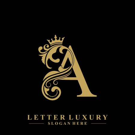 Initial letter A luxury beauty flourishes ornament with crown logo template. Illustration
