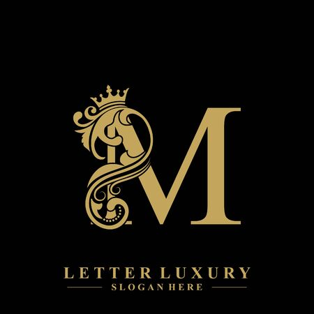 Initial letter M luxury beauty flourishes ornament with crown logo template. Logo