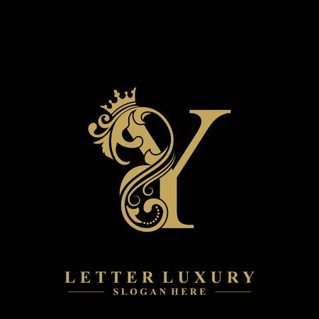 Initial letter Y luxury beauty flourishes ornament with crown logo template.