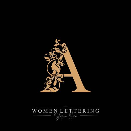 Initial letter Luxury A logo with beautiful woman portrait. Leaf Ornament Luxury glamour concept.