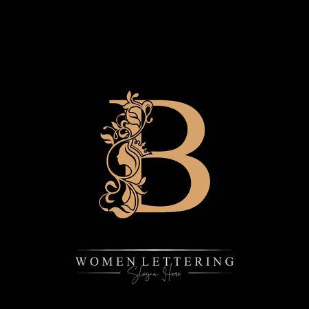 Initial letter Luxury B logo with beautiful woman portrait. Leaf Ornament Luxury glamour concept. Ilustração