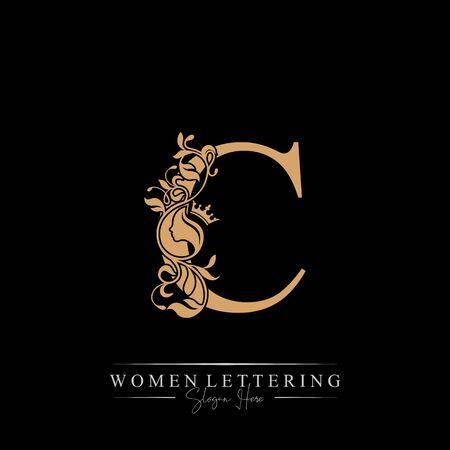 Initial letter Luxury C logo with beautiful woman portrait. Leaf Ornament Luxury glamour concept. Ilustração