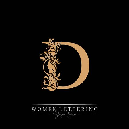 Initial letter Luxury D logo with beautiful woman portrait. Leaf Ornament Luxury glamour concept.