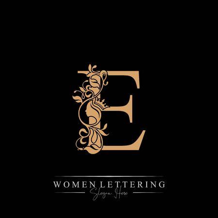 Initial letter Luxury E logo with beautiful woman portrait. Leaf Ornament Luxury glamour concept. Ilustração