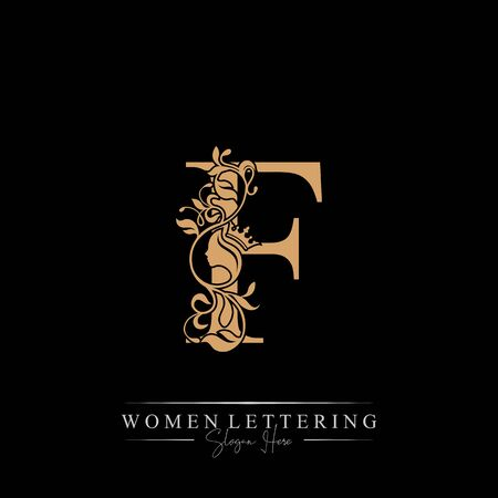 Initial letter Luxury F logo with beautiful woman portrait. Leaf Ornament Luxury glamour concept.