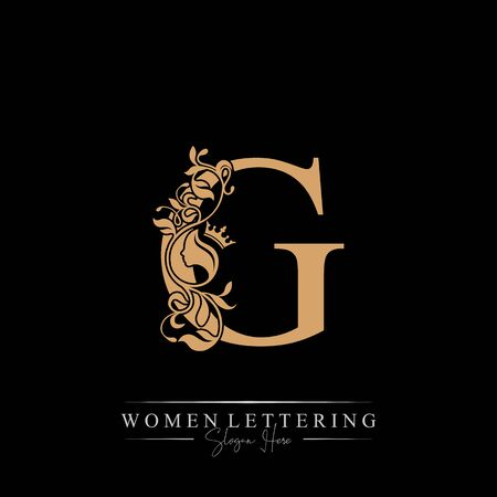 Initial letter Luxury G logo with beautiful woman portrait. Leaf Ornament Luxury glamour concept.