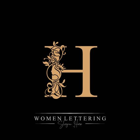 Initial letter Luxury H logo with beautiful woman portrait. Leaf Ornament Luxury glamour concept.