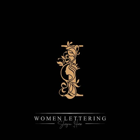 Initial letter Luxury I logo with beautiful woman portrait. Leaf Ornament Luxury glamour concept. Ilustração