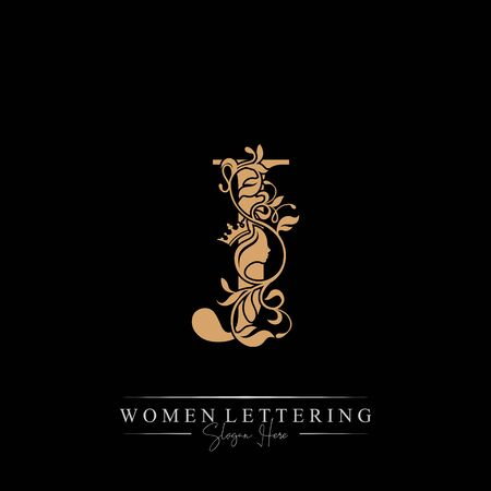 Initial letter Luxury J logo with beautiful woman portrait. Leaf Ornament Luxury glamour concept.