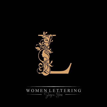 Initial letter Luxury L logo with beautiful woman portrait. Leaf Ornament Luxury glamour concept.