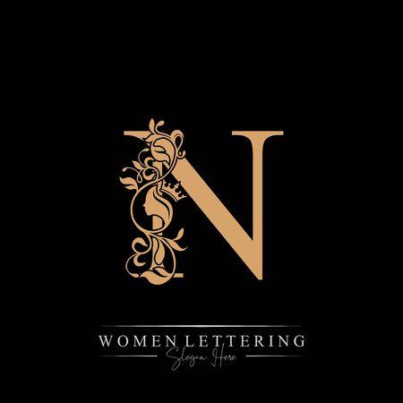 Initial letter Luxury N logo with beautiful woman portrait. Leaf Ornament Luxury glamour concept. Ilustração