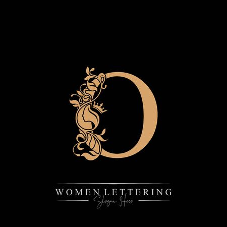 Initial letter Luxury O logo with beautiful woman portrait. Leaf Ornament Luxury glamour concept.