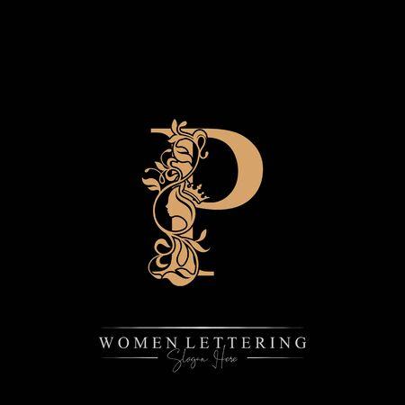Initial letter Luxury P logo with beautiful woman portrait. Leaf Ornament Luxury glamour concept. Ilustração