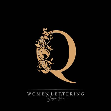 Initial letter Luxury Q logo with beautiful woman portrait. Leaf Ornament Luxury glamour concept.