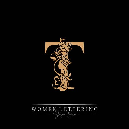 Initial letter Luxury T logo with beautiful woman portrait. Leaf Ornament Luxury glamour concept.