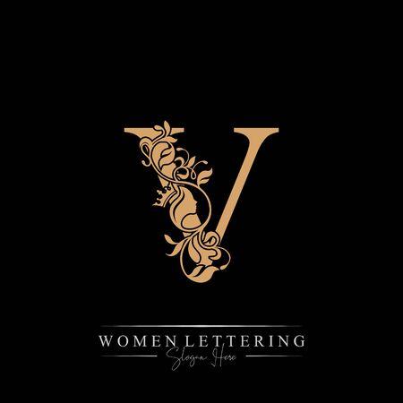 Initial letter Luxury V logo with beautiful woman portrait. Leaf Ornament Luxury glamour concept. Ilustração