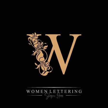 Initial letter Luxury W logo with beautiful woman portrait. Leaf Ornament Luxury glamour concept.
