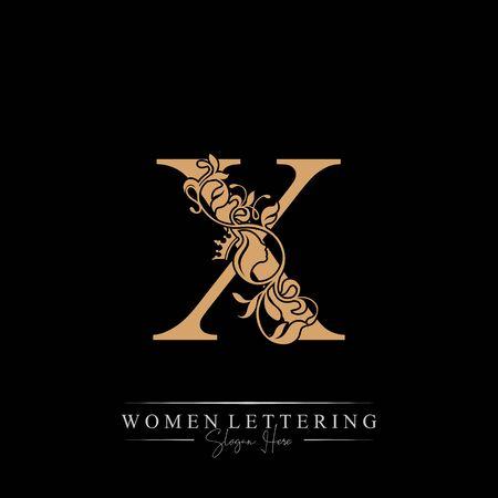 Initial letter Luxury X logo with beautiful woman portrait. Leaf Ornament Luxury glamour concept. Ilustração