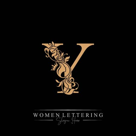 Initial letter Luxury Y logo with beautiful woman portrait. Leaf Ornament Luxury glamour concept.