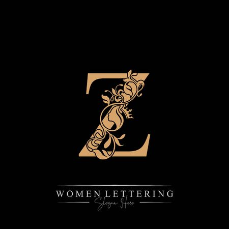 Initial letter Luxury Z logo with beautiful woman portrait. Leaf Ornament Luxury glamour concept.