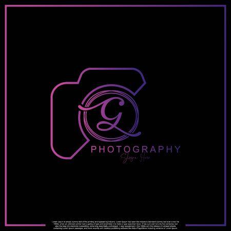 Letra inicial G de lujo moderno con cámara. Plantilla de lujo simple de fotografía de logotipo. Logos