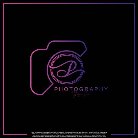 Modern Luxury Initial Letter P with camera. Logo photography simple luxury template.