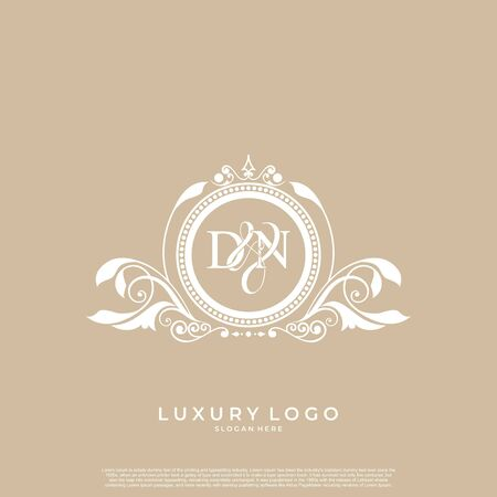 Logo Initial letter DN luxury vector mark, gold color elegant classical symmetric curves decor. editable file.
