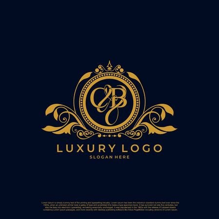 Logo Initial letter CB luxury vector mark, gold color elegant classical symmetric curves decor.